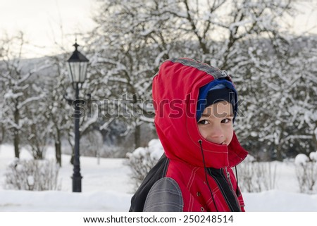 Portrait of a child boy in winter in snow. - stock photo