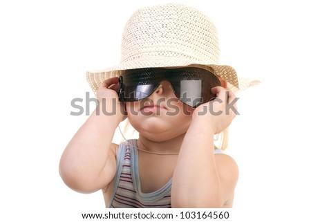 portrait of a child in sunglasses - stock photo