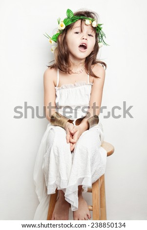 Portrait of a child of the Greek goddess - stock photo