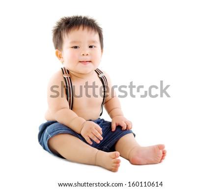 Portrait of a chubby asian baby boy - stock photo