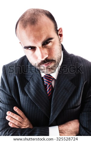 portrait of a classy businessman wearing a suit isolated over a white background - stock photo