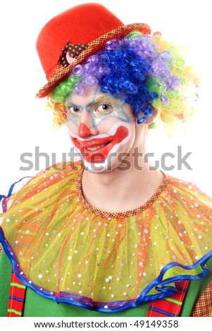 Portrait of a clown. Isolated on white