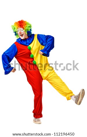 Portrait of a clown over white background - stock photo