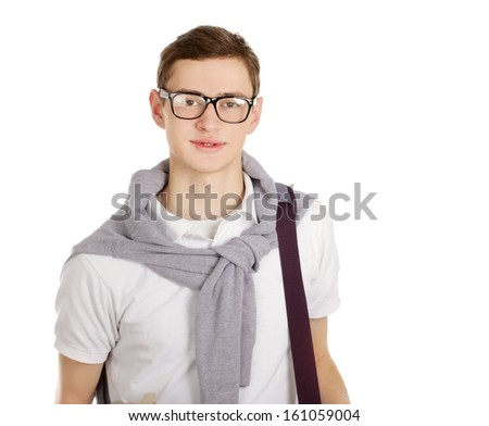 Portrait of a college guy, isolated on white background