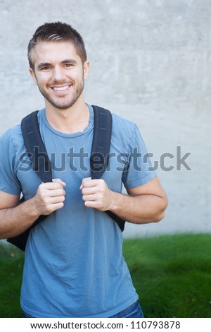 portrait of a college student on campus - stock photo