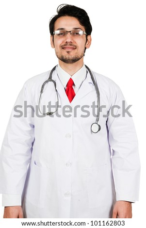 portrait of a confident and happy male medical doctor