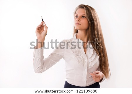 Portrait of a confident attractive business woman - stock photo