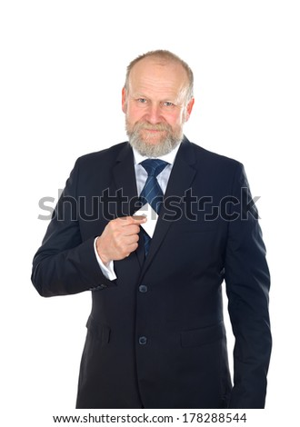 Portrait of a confident businessman holding a business card