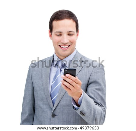 Portrait of a confident businessman looking at his phone isolated in a white background - stock photo