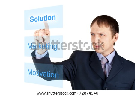 Portrait of a confident businessman pushing on touch screen, over white background - stock photo