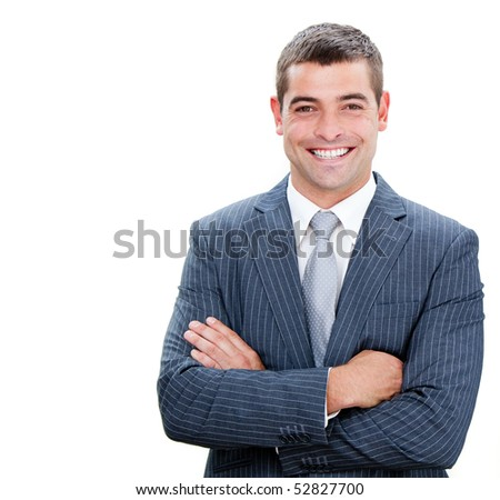 Portrait of a confident businessman with folded arms isolated on a white background - stock photo