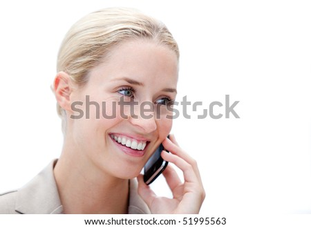 Portrait of a confident businesswoman talking on phone against a white background