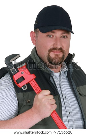 Portrait of a confident plumber - stock photo