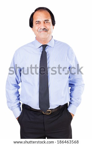 portrait of a confident senior businessman isolated on white - stock photo