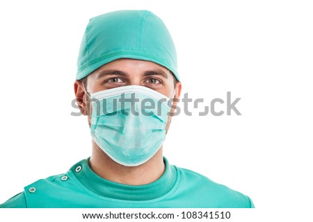 Portrait of a confident surgeon. Isolated on white - stock photo