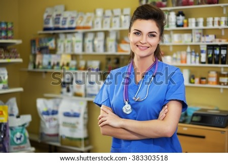 Portrait of a confident veterinarian at clinic. - stock photo