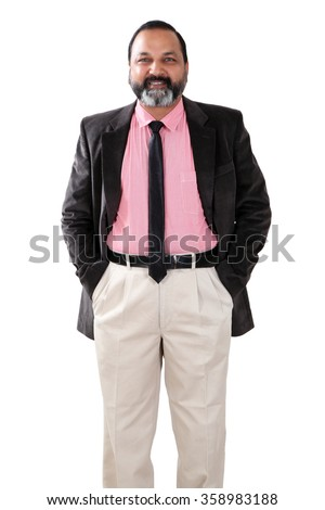 Portrait of a confident young Indian business man/professor/scientist - stock photo
