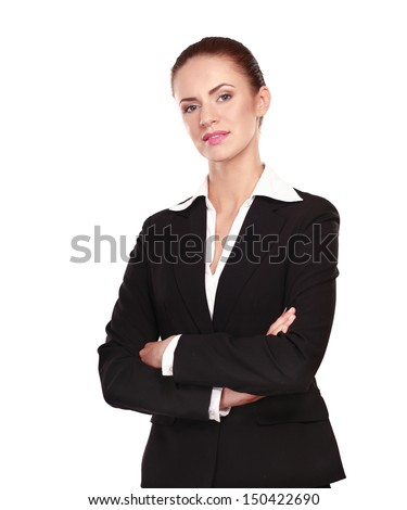 Portrait of a confident young woman standing isolated on white background
