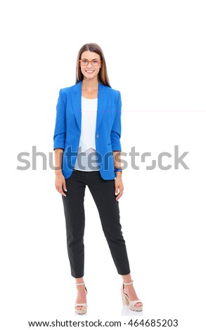 Portrait of a confident young woman standing isolated on white background?