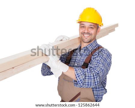 Portrait Of A Construction Worker Isolated On White Background - stock photo