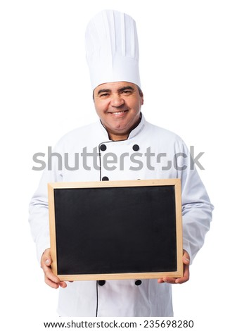 portrait of a cook man holding a chalkboard - stock photo
