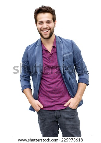 Portrait of a cool attractive young man with beard laughing on isolated white background - stock photo