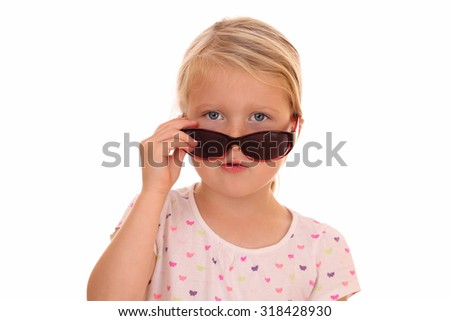 Portrait of a cool looking girl with sunglasses on white background - stock photo