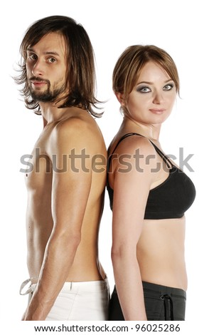 Portrait of a couple going to practice yoga - stock photo