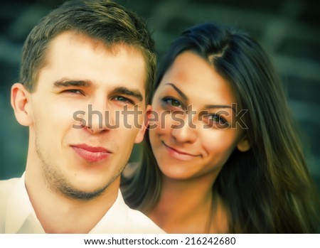 portrait of a couple young guys and girls from the outside - stock photo