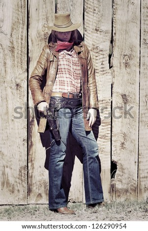 Portrait of a cowgirl, vintage style - stock photo