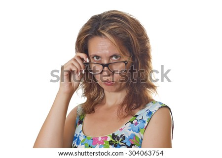 Portrait of a crazy beautiful woman wearting glasses. - stock photo