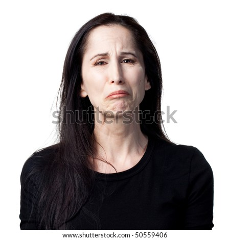 Portrait of a crying woman, isolated image
