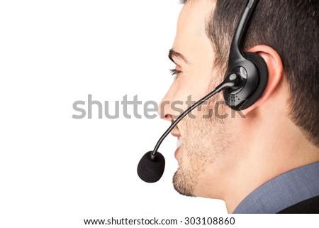 Portrait of a customer representative at work - stock photo