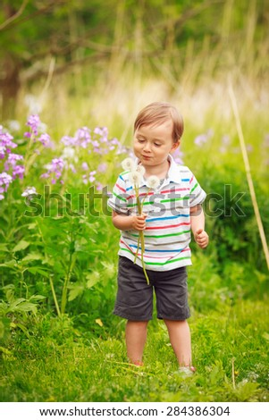 Portrait of a cute adorable little boy toddler standing in the forest field meadow with dandelion flowers in his hands and blowing them on a bright summer day, funny card with copy space for text