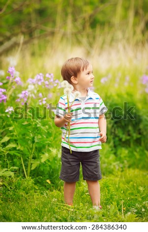 Portrait of a cute adorable little boy toddler standing in the forest field meadow with dandelion flowers in his hands and smiling on a bright summer day, funny card with copy space for text