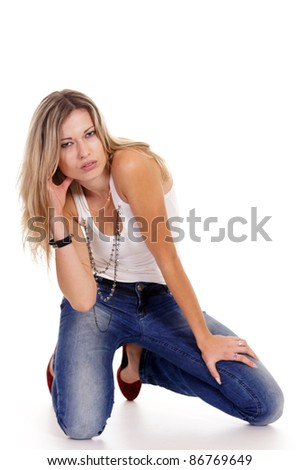 portrait of a cute adult girl on white