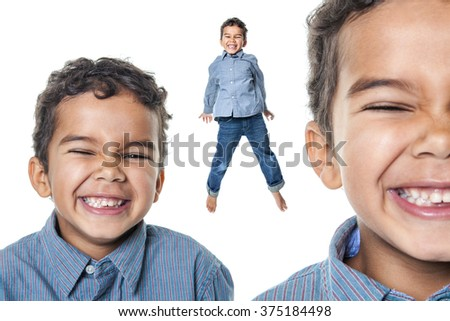 Portrait of a cute african american little boy, isolated on whit - stock photo