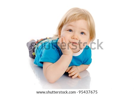 Portrait of a cute and happy little boy, on white background