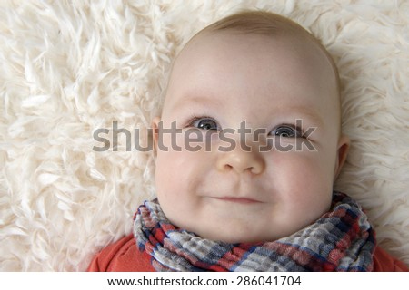portrait of a cute baby boy, 3 months old - stock photo