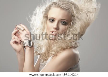 Portrait of a cute blondie - stock photo