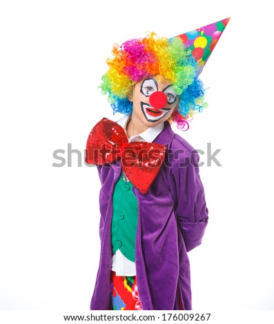 Portrait of a cute boy clown. Isolated on white background.