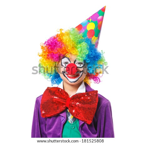 Portrait of a cute boy clown. Isolated on white background. - stock photo
