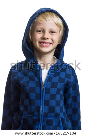 Portrait of a cute boy in a hooded jumper isolated on white background - stock photo
