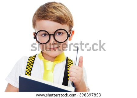 Portrait of a cute boy with glasses