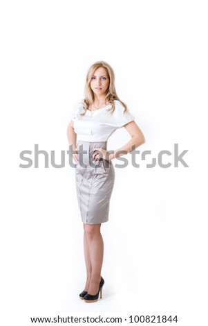 Portrait of a cute  business woman isolated white