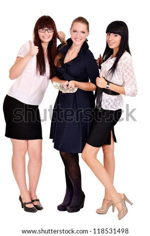 portrait of a cute business women on a white - stock photo