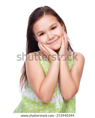 Portrait of a cute cheerful girl, isolated over white - stock photo