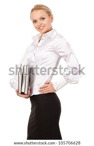 Portrait of a cute confident business woman isolated against white - stock photo