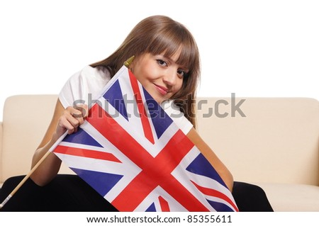 portrait of a cute english girl on white