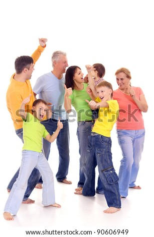 portrait of a cute family of a seven - stock photo